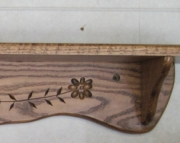 48 Inch Wide Hand Carved Solid Oak Wall Shelf in Country Flower Pattern