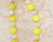 LARGE SUNNY YELLOW & WHITE TURQUOISE BEAD NECKLACE