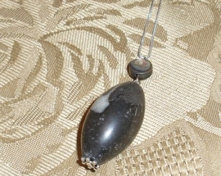 LARGE BLACKSTONE PENDANT WITH STERLING SILVER CHAIN