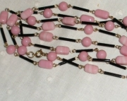 Pink and Black Vintage Glass Bead Necklace