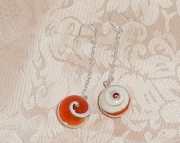 WHITE/ORANGE SWIRL SHELL&STERLING SILVER DANGLES