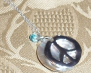 Peace Sign, Shell, & Crystal On a Sterling Silver Chain