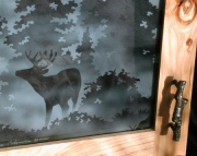 Buck and Geese - Sandblasted Cabinet Glass