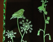 Goldfinch Etched Glass Luminary
