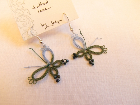 Tatted Butterfly Earrings- Blue/green
