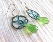 Tatted Drop Earrings- blue/green