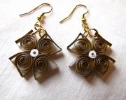 Paper Square Earrings, Bronze