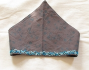 Gray and Blue Tatted Kerchief Headband
