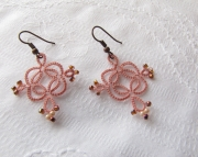 Tatted Square Drop Earrings-rose