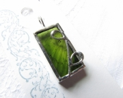 Stianed Glass Leaf Pendant- green