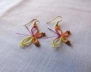 Tatted Butterfly Earrings, sherbet 1