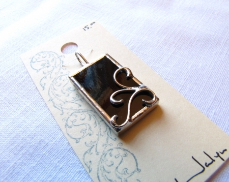 Stained Glass Scroll Pendant Black