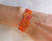 Tatted Lace Bracelet- orange