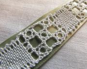 Green Ribbon Bobbin Lace Bracelet