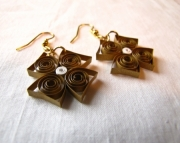 Paper Square earrings, bronze