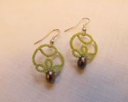 Tatted Drop Earrings Green