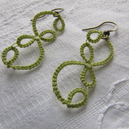 Tatted Vine Earrings-green