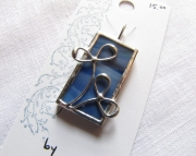 Stained Glass Double Leaf Pendant