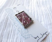 Stained Glass Scroll Pendant- Purple