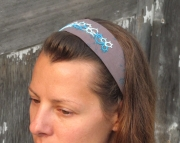 headband w tatting teal and brown