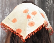 Kerchief Headband with Crochet Trim