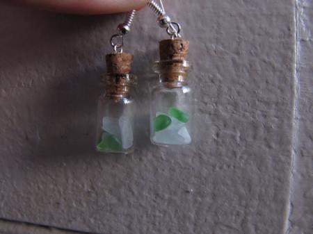 Beach Glass Bottles in Green