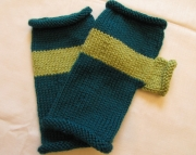 Striped Fingerless MittensGreen