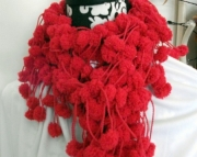 Red Pom Pom Scarf - Valentines Day!
