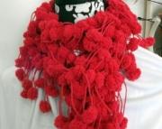Red Pom Pom Scarf - Valentines Day!