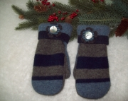 Grey Navy Wool Cashmere Mittens