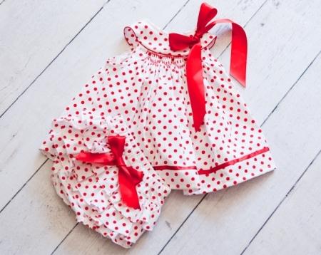 Red and White Polka Dot Hand Smocked Dress Set