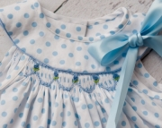Blue and White Polka Dot Hand Smocked Dress Det
