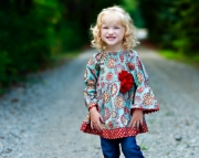 Peasant Style Girls Top with Bell Sleeves