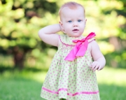Green with Pink Polka Dot Smocked dress set