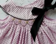 Pale Pink with Black Polka Dot Hand Smocked Dress Set