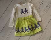 Lime Green and Purple Paper Doll Skirt and Top
