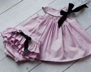 Pale Pink with Black Polka Dot Hand Smocked Dress Set