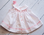 Pink and White Polka Dot Hand Smocked Drss Set