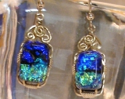 Dichroic Glass Earrings in Argentium Sliver