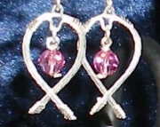 Handmade Rose Pink Crystal with Argentium Silver Earrings