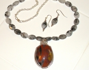 Tourmaline and Rainbow Petrified wood Handmade Necklace and Earrings