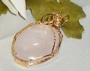 Rose Quartz Gemstone Pendant wrapped in 14K Gold-filled wire.
