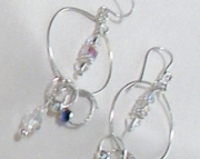Silver Hoop Earrings with Swarovski Crystal Beads