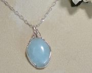 Pale Blue Larimar Gemstone necklace on gleaming 24 in. Sterling Silver ch
