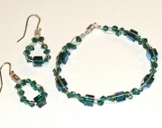 Emerald Swarovski Crystal Bracelet--small, and Earrings
