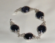 Handmade Black Gold Stone Bracelet wrapped in 925 Silver wire.