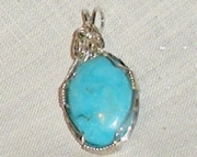 Turquoise Gemstone pendant wrapped in Argentium Silver wire