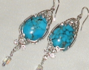 Embellished Turquoise Earrings in Sterling