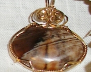 Original Chocolate Agate Gemstone pendant wrapped in 14k Gold wire