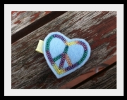 Peace Heart Felt Hair Clippie